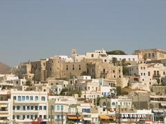 Naxos view. Greek island in Cyclades. Stock Photos