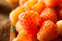 Raw Organic Orange Sunshine Raspberries - stock photo