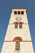 Tall Campanile against the sky. - stock photo