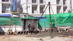 Construction Drilling Operation Stock Footage
