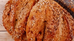 French rye breads and baguettes Stock Footage