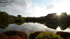 Time Lapse of Japanese Garden Sunset Reflection at Heian Jingu in Kyoto, Japan 1 Stock Footage