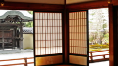Interior of Japanese Temple at Koudai-ji in Kyoto, Japan -Tracking Shot- Stock Footage