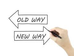 old way or new way written by man's hand - stock photo