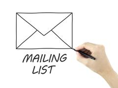 mailing list drawn by man's hand - stock photo