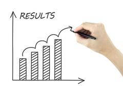 results graph drawn by man's hand - stock photo