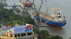 Aerial view on Cargo ship at port, Ho Chi Minh City, Vietnam. - stock footage