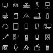 Stock Illustration of Gadget line icons on black background