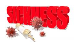 red sickness word, abstract virus modes and syringe - stock footage