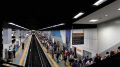 Passengers at the Subway Station. Rio de Janeiro, Brazil. Botafogo. Time lapse Stock Footage