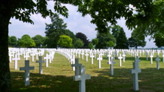 War Cemetery - Normandy France Stock Footage