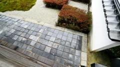 Japanese Garden in Toufuku-ji in Kyoto, Japan -Tilt Up/Pan Left- Stock Footage