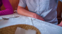 The waitress brings a mushroom soup Stock Footage
