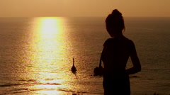 Silhouette of beautiful women at sunset viewpoint. Stock Footage