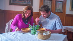Couple eats a mushroom soup Stock Footage