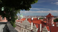 View from Garden of Paradise near Prague Castle Stock Footage