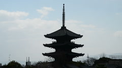 Time Lapse of Yasaka Tower -Historic 5-Story Pagoda in Kyoto, Japan Stock Footage