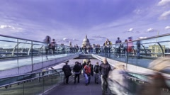 Time lapse view of the Millennium bridge in London Stock Footage