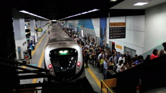Passengers at the Subway Station. Rio de Janeiro, Brazil. Time lapse. - stock footage