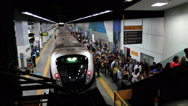 Stock Video Footage of Passengers at the Subway Station. Rio de Janeiro, Brazil. Time lapse.