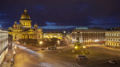 Saint Isaac's Cathedral place night timelapse view from the roof 4K Stock Footage