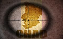 Sniper scope aimed at the vintage chad flag and map Stock Illustration