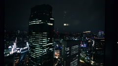 Tokyo Urban Night Cityscape View from Elevator -Descending- Stock Footage