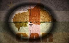 Sniper scope aimed at the vintage central african republic flag and map Stock Illustration
