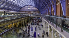 Time lapse of St Pancras station in London Stock Footage