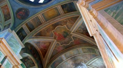 Church interior. icons. inside of christian church Stock Footage