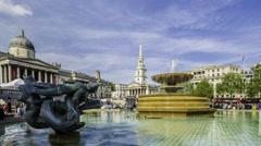 Time lapse view of Trafalgar square, London Stock Footage