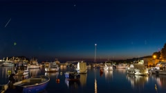 Time Lapse scene of ships by night at Hvar Stock Footage