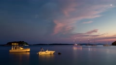 Night Time Lapse scene of ships at the Adria sea in Hvar Stock Footage