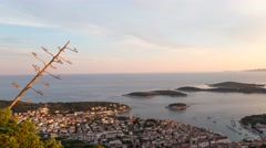 Panorama of Hvar city and Harbor during golden hour Stock Footage