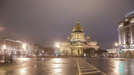 Stock Video Footage of Saint Isaac's Cathedral night motion timelapse 4K
