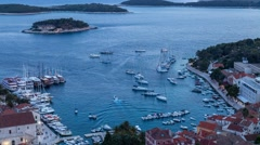 Ship traffic in the harbor of Hvar city 4K Stock Footage