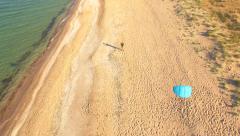 Kite Sand Beach Sky Man Coast Fly Wind Beauty Hobby Sea Beautiful Summer Playing Stock Footage