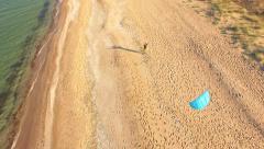 Beach Kite Sky Sea Summer Blue Fun Water Nature Vacation Sun Sand Wind Man Stock Footage