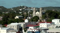 Antigua Caribbean Sea 193 St. John's church with twin clock towers in uptown Stock Footage