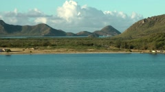 Antigua Caribbean Sea 155 early morning landscape at arrival Stock Footage