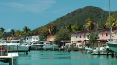 Antigua Caribbean Sea 165 boats in turquoise water of  Jolly Harbor Stock Footage