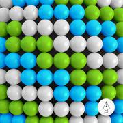 Abstract technology background with balls. Spheric pattern - stock illustration