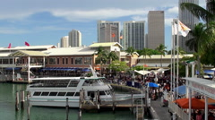 Crowd people in the Bayside festival marketplace. Miami - stock footage