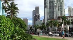 Biscayne Boulevard in Miami downtown from Bayside marketplace. Stock Footage
