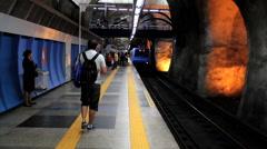 Passengers at the Subway Station. Rio de Janeiro, Brazil. Ipanema, Copacabana Stock Footage