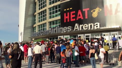 Sports fans at the entrance of American Airlines Arena during HEAT Games. Miami Stock Footage