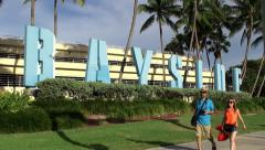 Bayside marketplace sign at Biscayne Boulevard. Miami Stock Footage