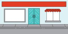 Red Sales Market Billboard and Awning - stock illustration