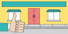 Store Front Awnings With Thumbs Up - stock illustration