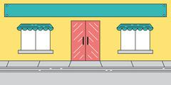 Flat Cute Store Front Display with Sign - stock illustration